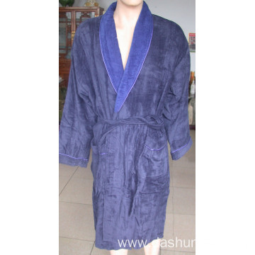 100% cotton velvet bathrobe with different color collar